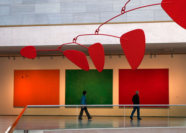 Paintings and Calder Mobile