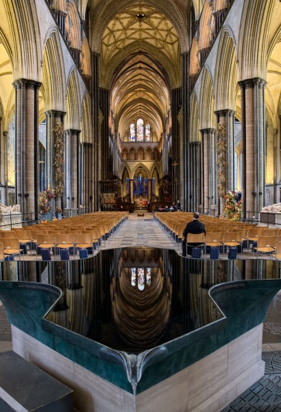 Salisbury Cathedral -- View down the Nave from the Font. (Click image to enlarge)