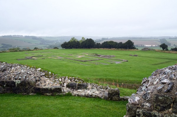 Outline of the original Salisbury Cathedral at Old Sarum, seen from the ruined fortress walls. (Click image to enlarge)