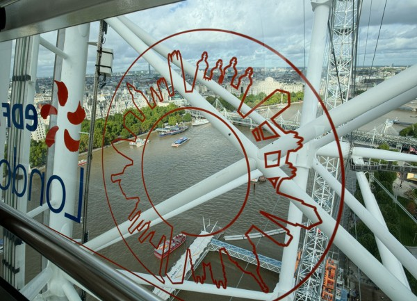 Through the London Eye logo.  (Click image to enlarge)