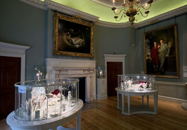 "Joshua Reynold's ""Cupid and Psyche"" overlooks some of the Courtauld's silver.  (Click image to enlarge)"