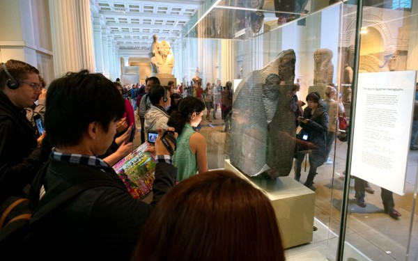 The Rosetta Stone...And a constant stream of viewers. (Click image to enlarge)
