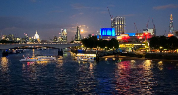 10.  Moonrise over the Thames, from the Hungerford Bridge.  The white dome of St Paul's to the left, and the Shard on the far right above Royal Festival Hall. (Click image to enlarge)