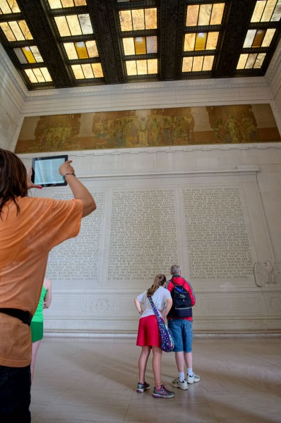 The Lincoln Memorial -- looking at Lincoln's Second Inaugural Address (Click image to enlarge)