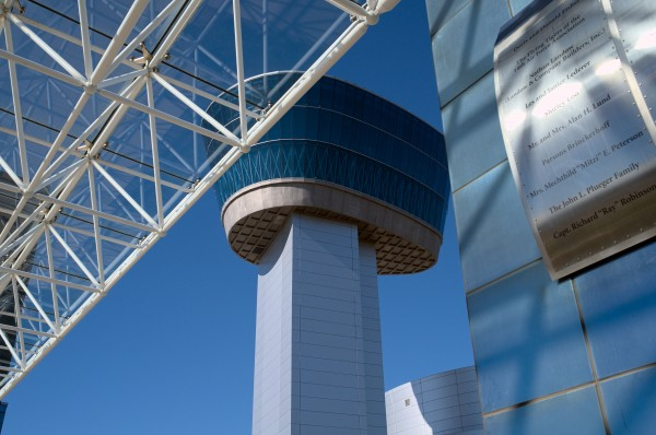 NASM Udvar-Hazy observation tower viewed from the museum entrance.